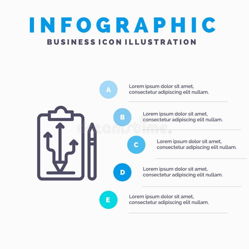 头,计划,战略,战术,认为线象有5步介绍infographics背景 库存例证
