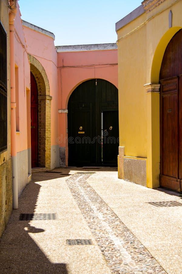 夸尔图-撒丁岛的历史的中心 免版税图库摄影