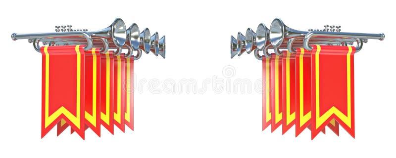 夸耀十对称银色喇叭和红旗3D 库存例证