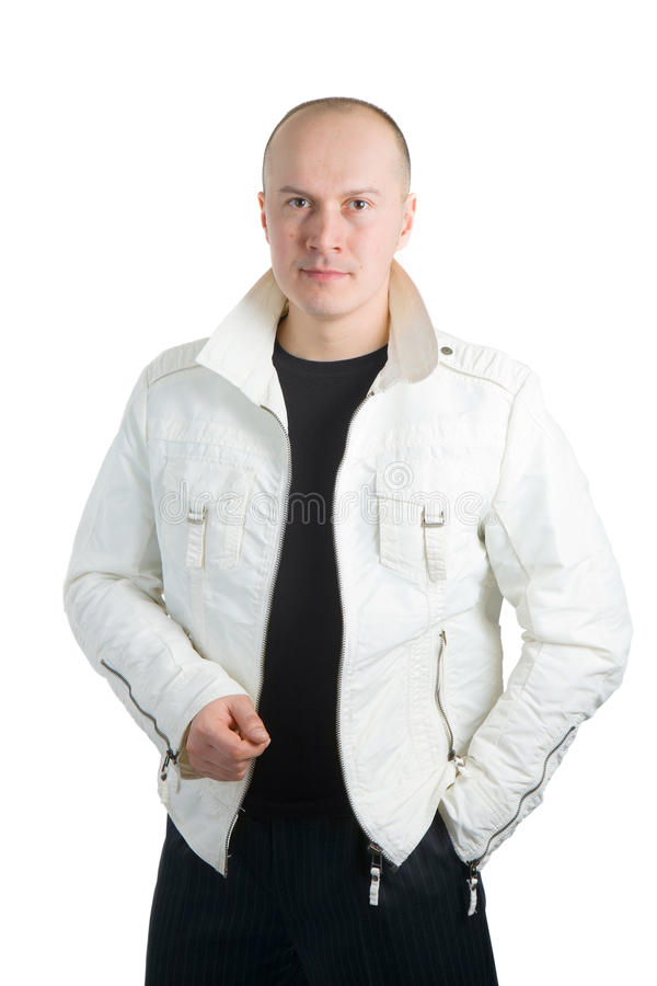 夹克人照片白色 库存图片