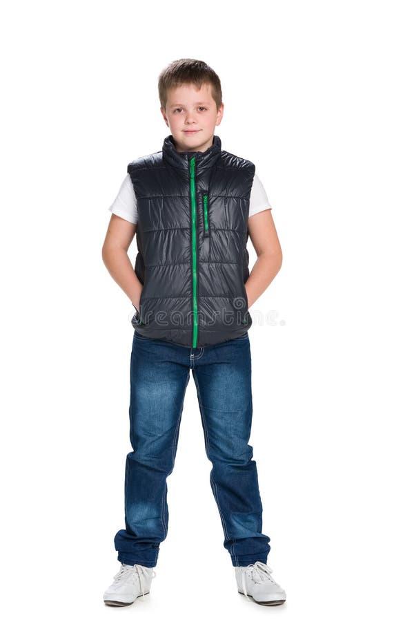 夹克的确信的年轻男孩 免版税库存照片