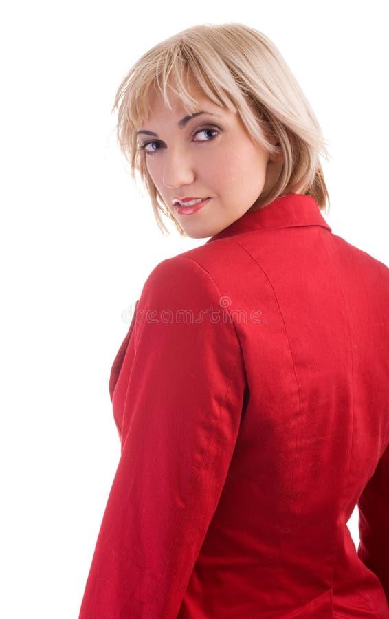 夹克红色妇女 库存照片