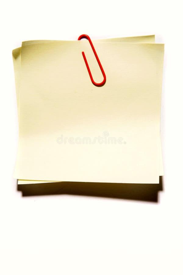 夹子便条纸黄色 库存图片