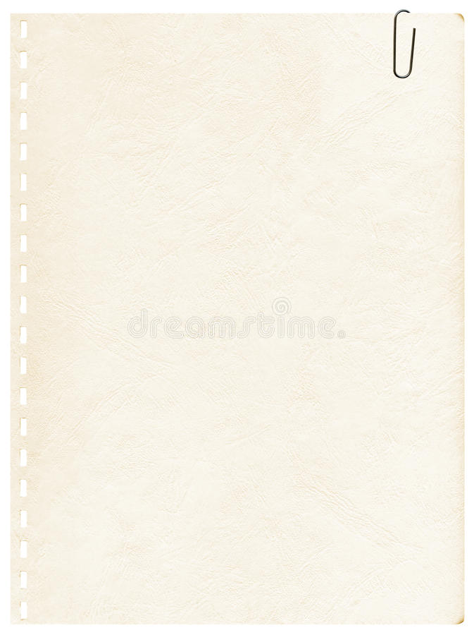 夹子笔记本老页 免版税库存图片