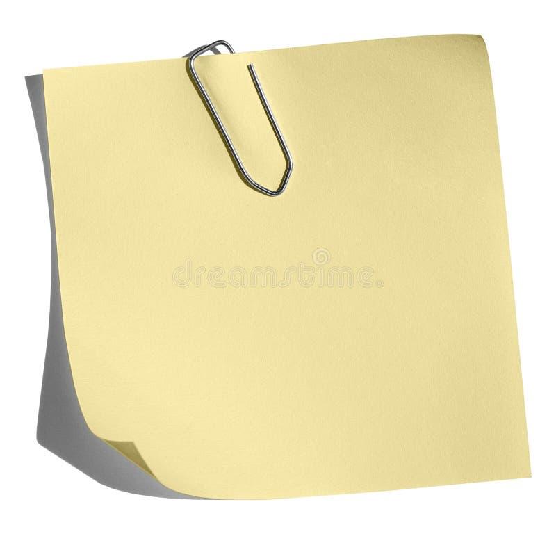 夹子通知单纸张黄色 免版税图库摄影