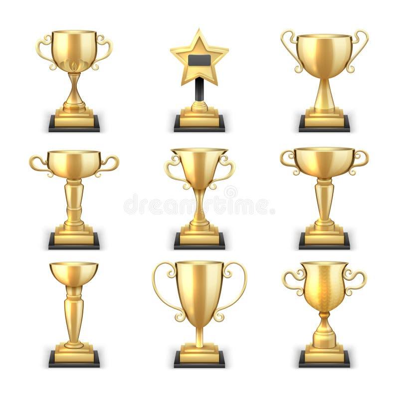夺得金黄杯的战利品和炫耀奖在白色背景隔绝的传染媒介收藏 向量例证