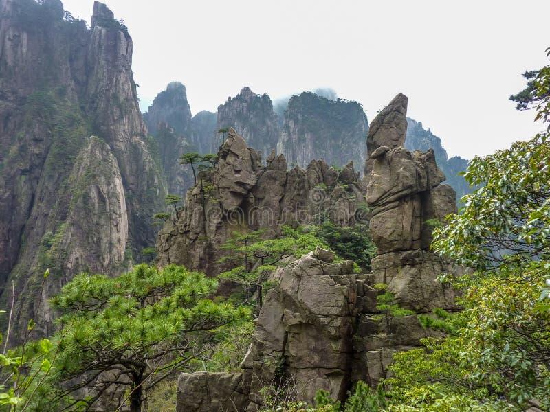 奇怪型岩石在一有雾的天,黄山在中国 免版税图库摄影