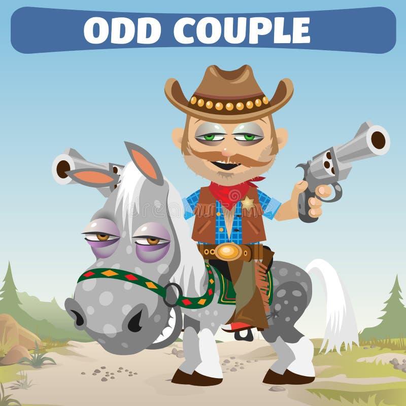 奇怪的夫妇牛仔车手和马 皇族释放例证