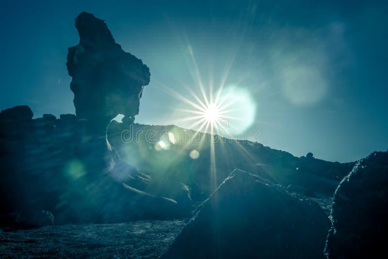 奇怪的火山的熔岩形成在死亡谷加利福尼亚晃动 免版税库存照片