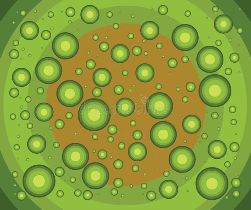 奇怪的矮小的绿色球 一起落对无限 库存例证