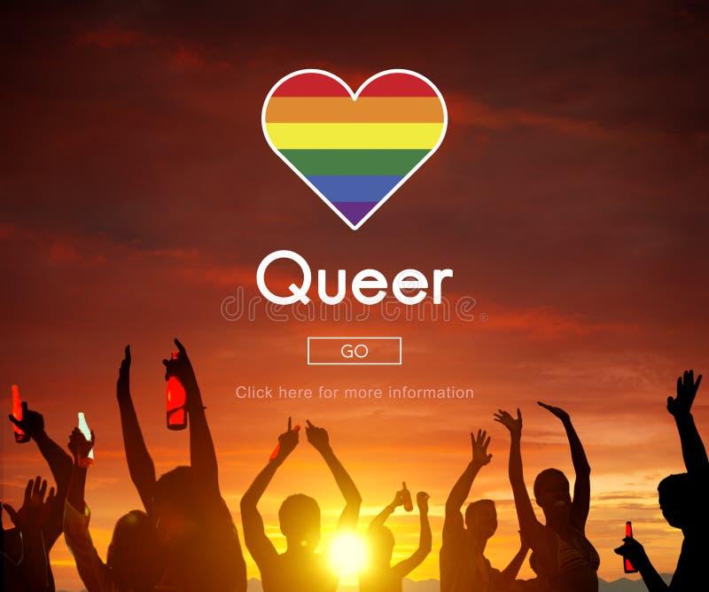 奇怪LGBT女同性恋的快乐两性的变性概念 免版税库存图片