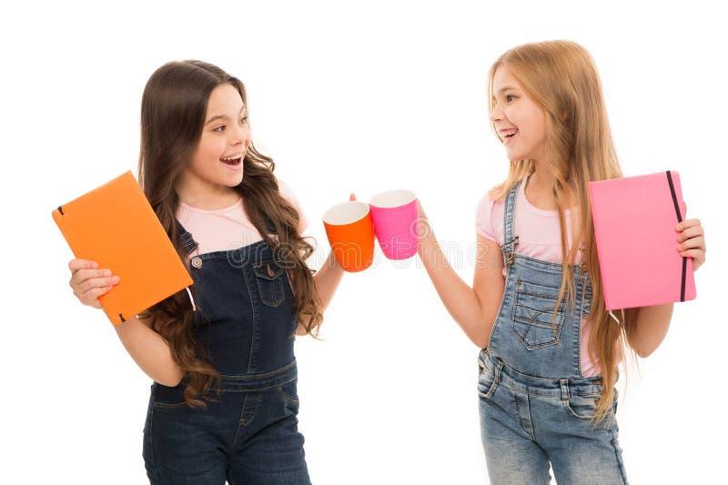 奇恩角下巴 有的女孩小休 一起塞杯子裂缝的小孩子在进餐休息 逗人喜爱女小学生享用 免版税库存图片
