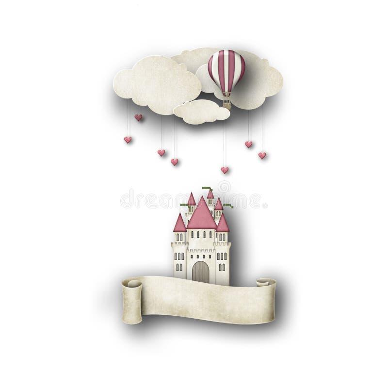 奇想的城堡和气球 皇族释放例证