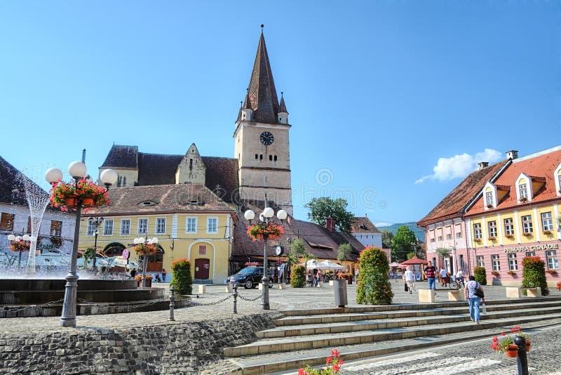 奇斯讷迪耶村庄在特兰西瓦尼亚,罗马尼亚 免版税库存图片