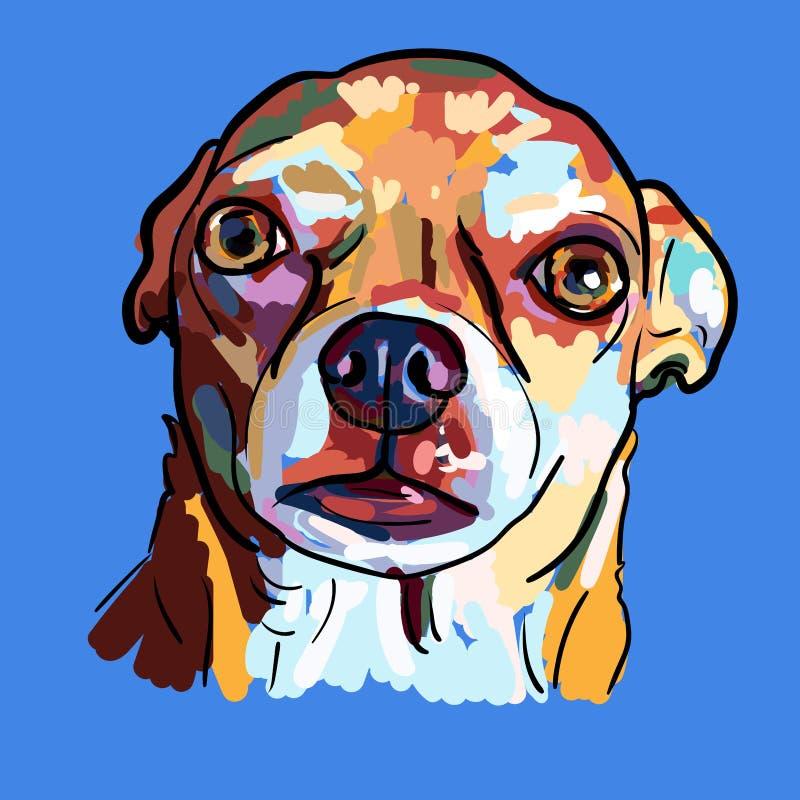 奇瓦瓦狗狗的滑稽的面孔绘画在蓝色背景的 库存例证