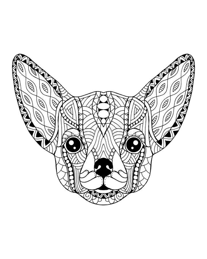 奇瓦瓦狗被传统化的狗zentangle 徒手画的传染媒介例证 皇族释放例证