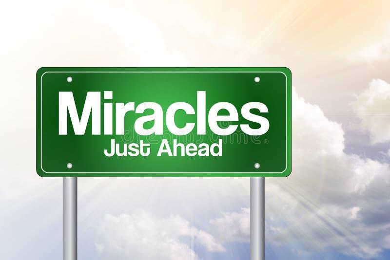 奇迹绿色路标 库存例证