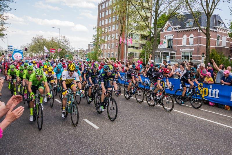 奈梅亨,荷兰2016年5月7日;在短跑前的专业骑自行车者 库存图片