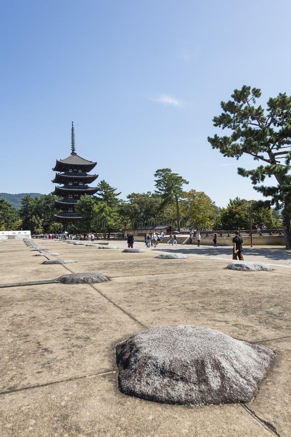 奈良,日本- 2016年10月7日:Kofuku籍寺庙在奈良,日本,联合国科教文组织世界遗产名录站点 免版税库存图片