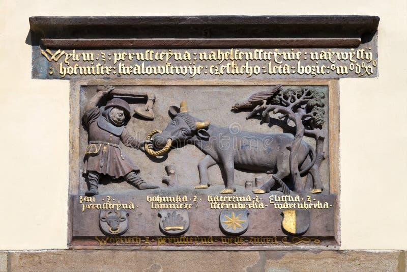 奉献的标志,新生城堡, Pardubice,东部波希米亚,捷克共和国 库存照片