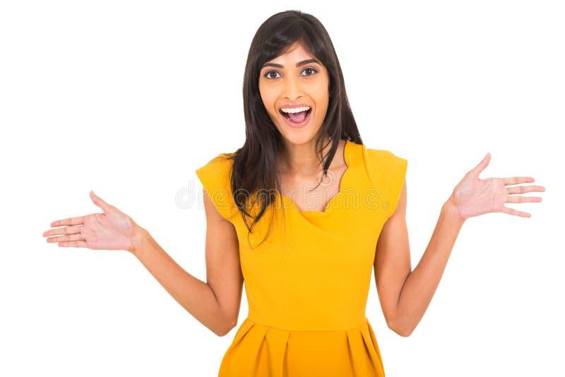 兴奋印第安妇女 免版税库存图片