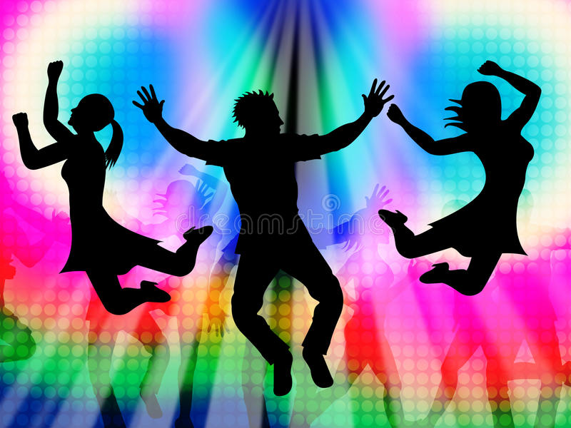 兴奋跳跃代表迪斯科跳舞和活动 库存例证