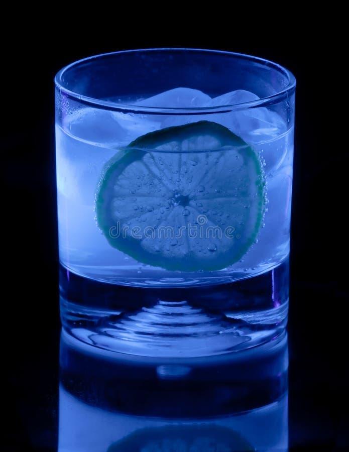 奎宁水和柠檬在黑光 库存图片