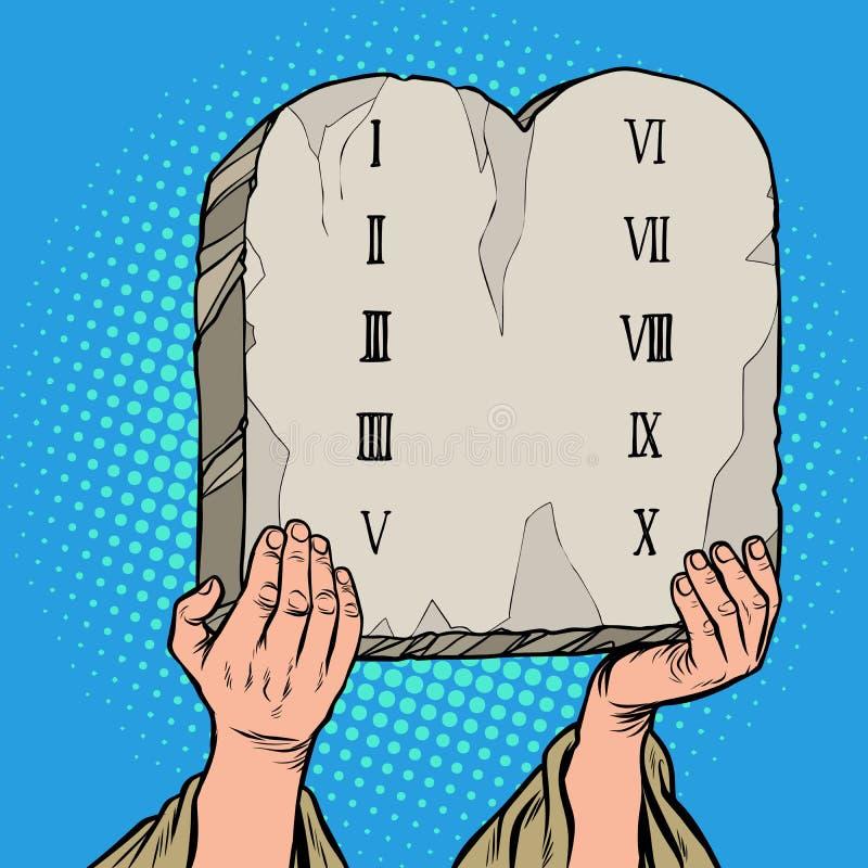 契约的表 摩西十戒  库存例证