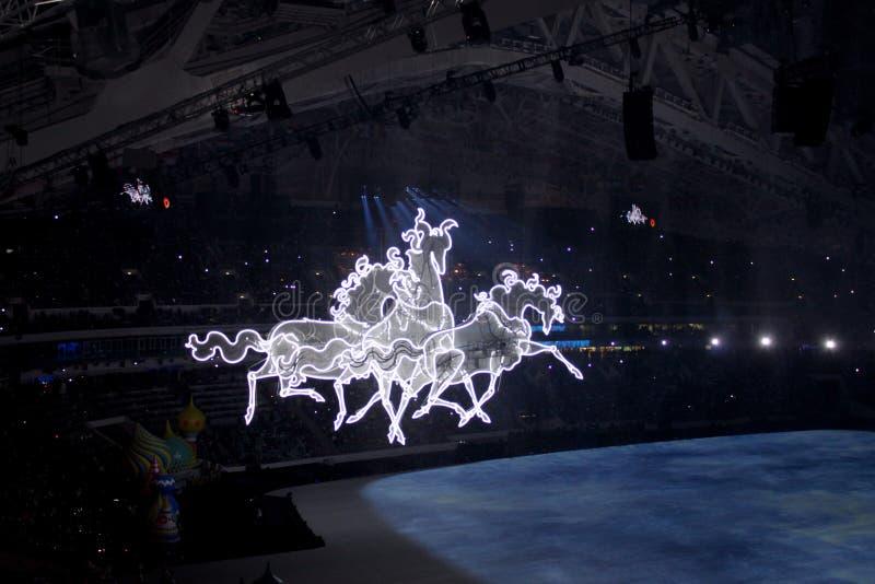 索契,俄罗斯- 2014年2月7日:俄国三巨头冲在o 图库摄影