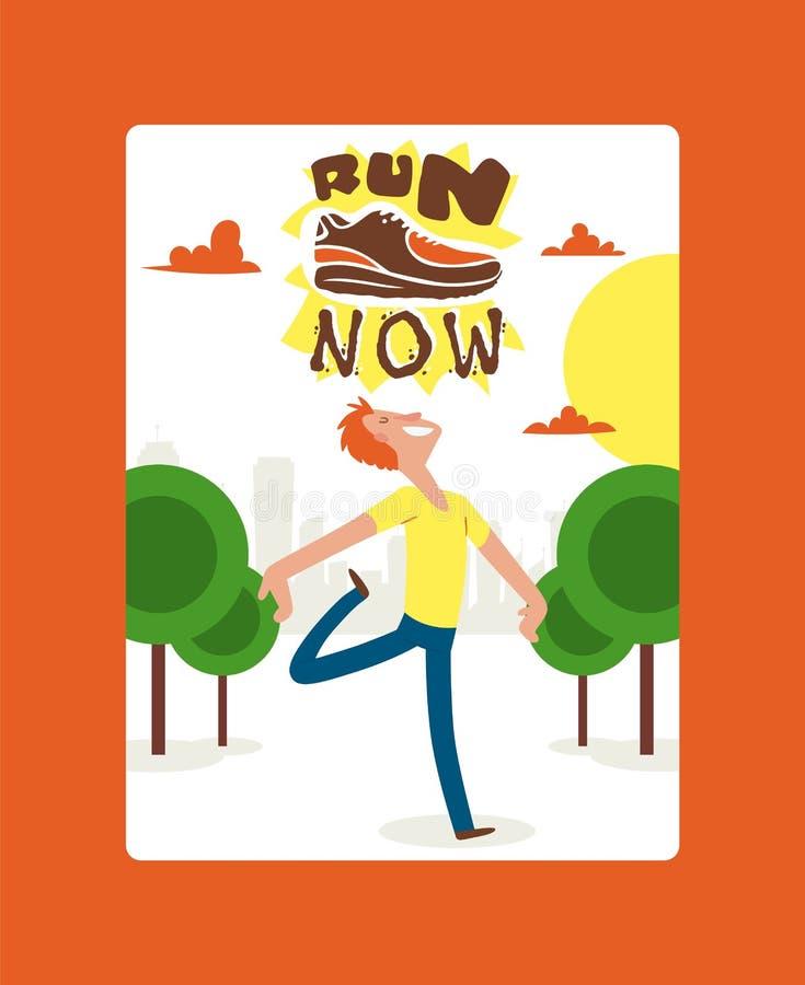 奔跑现在横幅,海报传染媒介例证 跑诱导行情的创造性的体育 运动鞋,运动鞋为 皇族释放例证