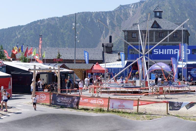 奔驰车的联合利华MTB世界杯小牧场2019年- DHI Vallnord,2019年7月的安道尔 库存图片
