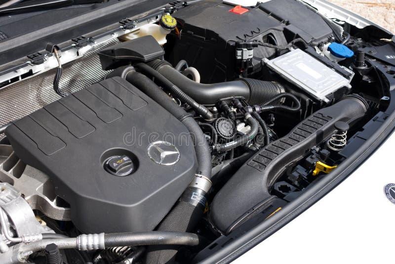 奔驰车A级2018年引擎 免版税库存图片