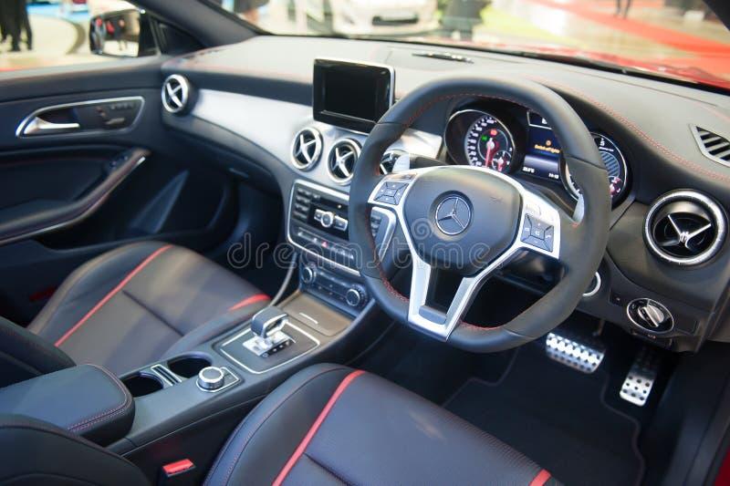 奔驰车CLA45AMG内部在新加坡Motorshow 2015年 免版税库存图片