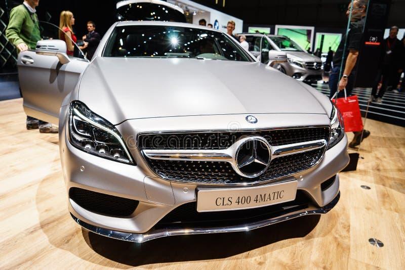 奔驰车CLS 400 4MATIC,汽车展示会日内瓦2015年 免版税库存图片