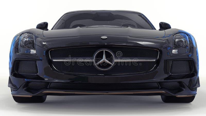 奔驰车SLS黑色 三维光栅例证 在白色背景的被隔绝的汽车 3d翻译 免版税库存图片