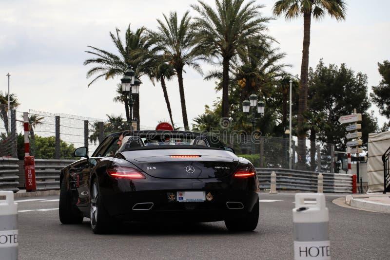 奔驰车SLS AMG supercar在摩纳哥 免版税库存图片