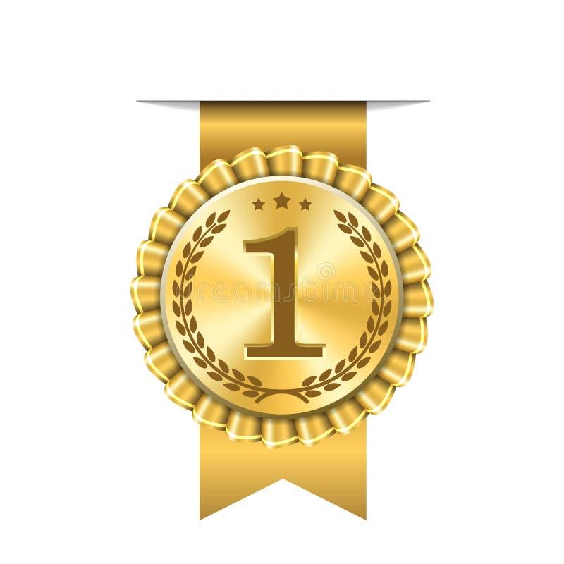 奖丝带金象数字第一个设计优胜者金黄奖牌1奖 标志最佳的战利品,第1个成功冠军,一 皇族释放例证