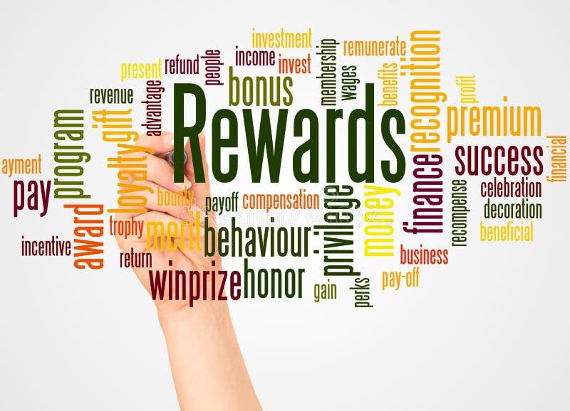 奖励词云彩和手有标志概念的 免版税库存照片