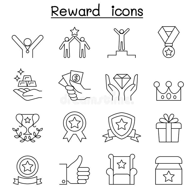 奖励&成功象在稀薄的线型设置了 库存例证