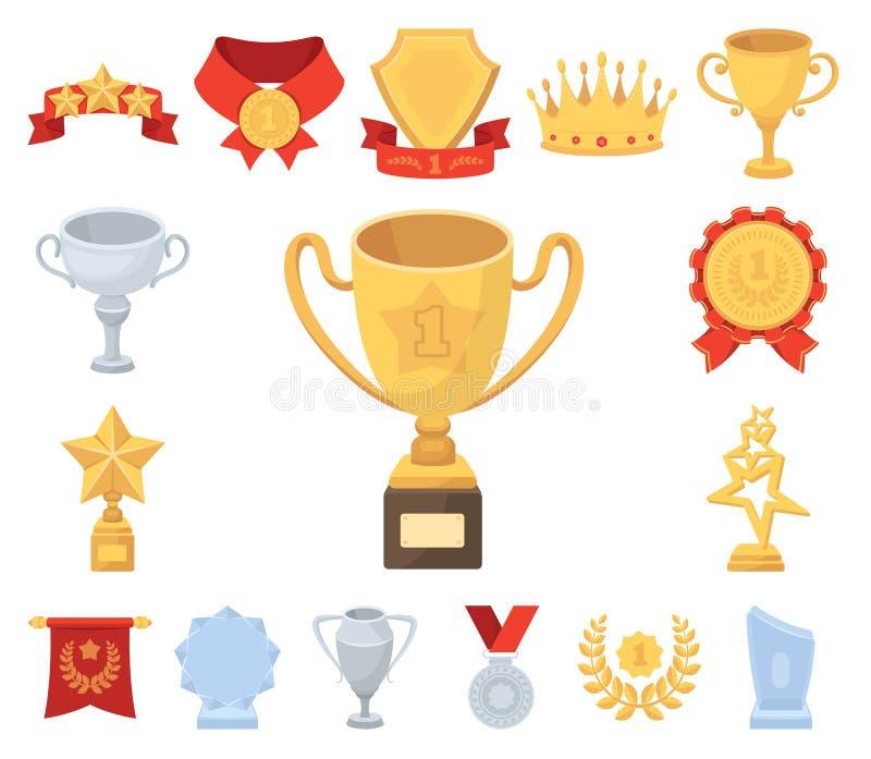 奖和战利品动画片象在集合汇集的设计 奖励和成就传染媒介标志股票网 皇族释放例证