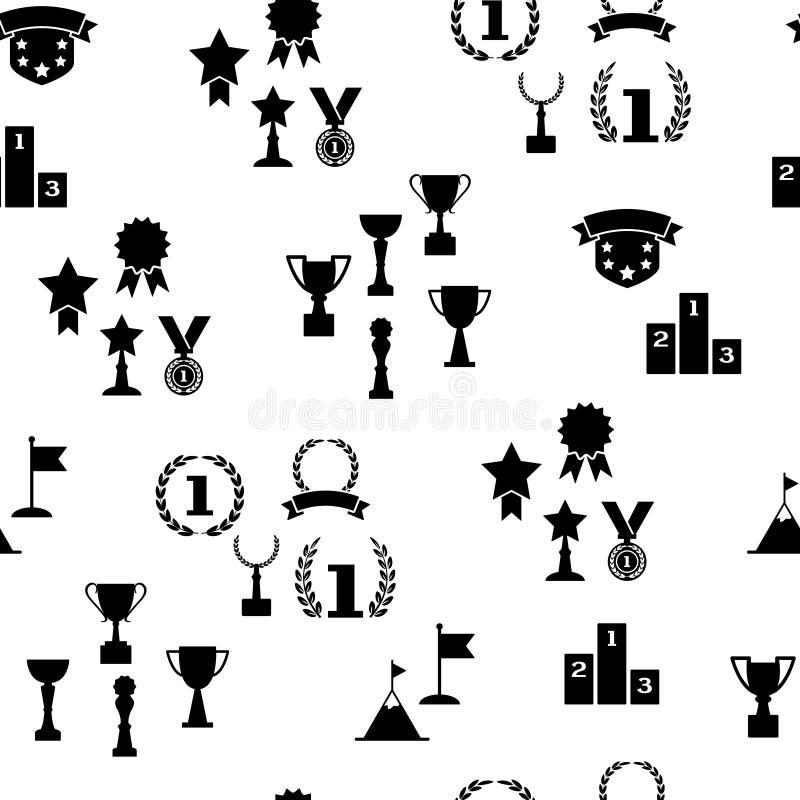 奖和杯子,黑白无缝的样式,传染媒介 皇族释放例证