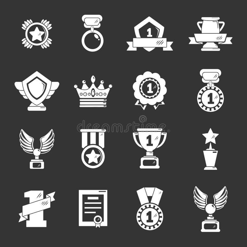 奖奖牌杯子象被设置的灰色传染媒介 皇族释放例证
