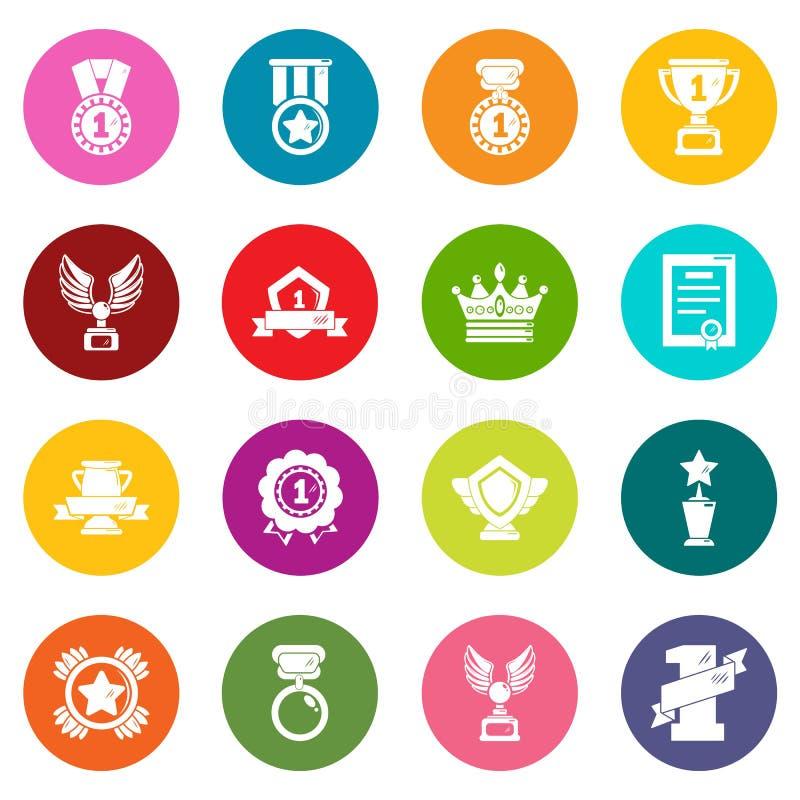 奖奖牌杯子象设置了五颜六色的圈子传染媒介 向量例证