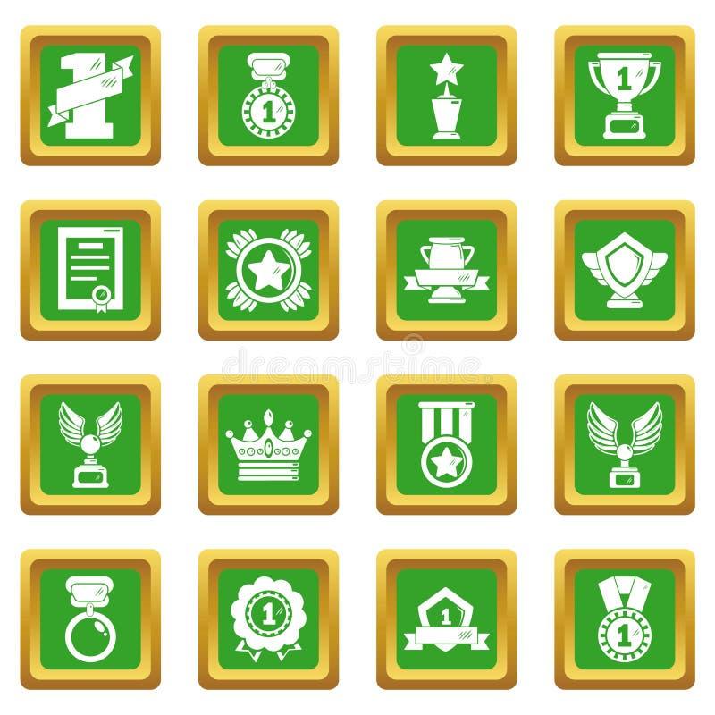 奖奖牌杯子象设置了绿色方形的传染媒介 库存例证