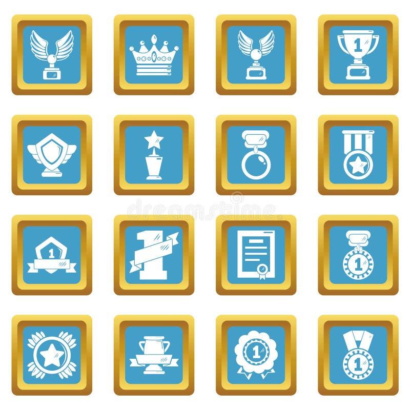 奖奖牌杯子象设置了蓝宝石方形的传染媒介 皇族释放例证