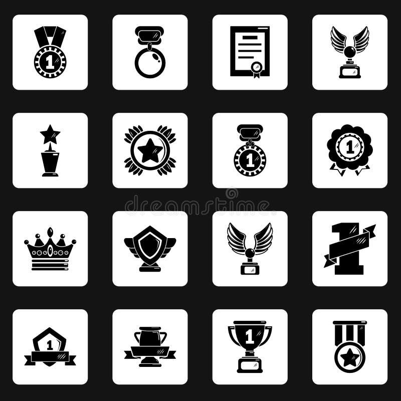 奖奖牌杯子象设置了,简单的样式 库存例证