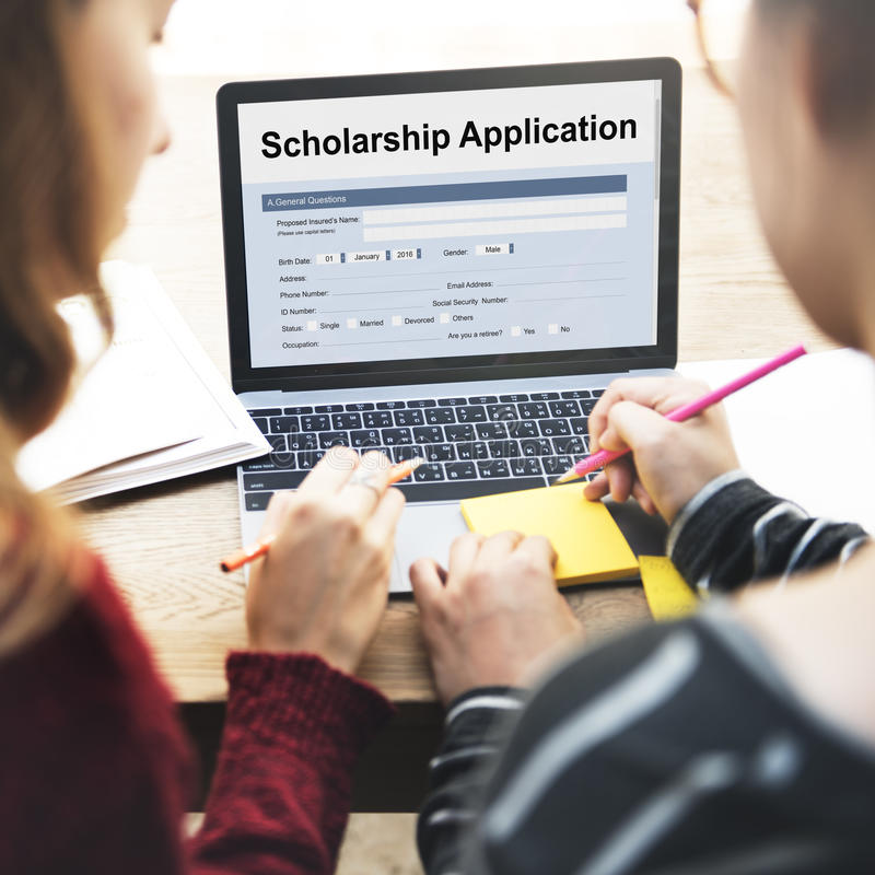 奖学金申请文件合同形式概念 库存照片