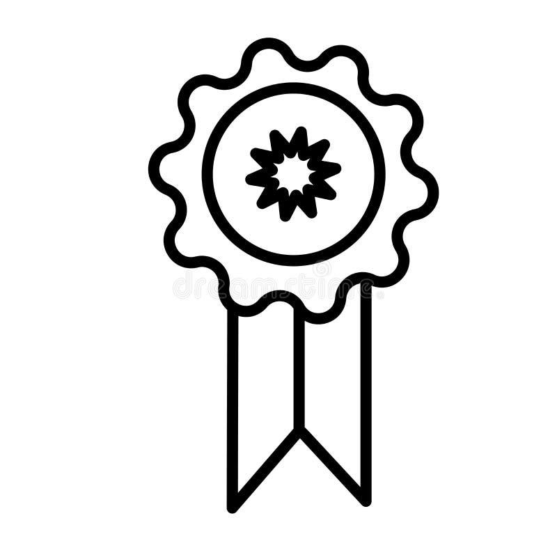 奖徽章象在白色背景和标志隔绝的传染媒介标志,奖徽章商标概念 皇族释放例证