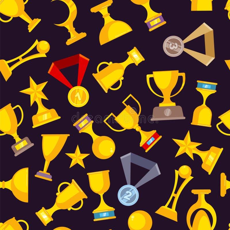 奖战利品杯 体育优胜者金黄奖牌奖励导航平的图片收藏 皇族释放例证