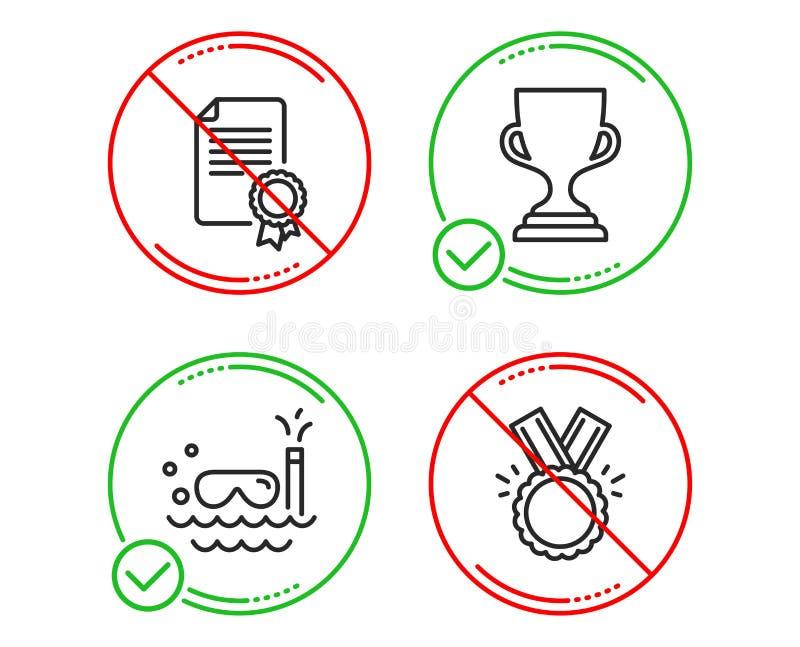 奖杯子,佩戴水肺的潜水和证明象集合 荣誉标志 战利品,旅行游泳,文凭 奖牌 向量 库存例证